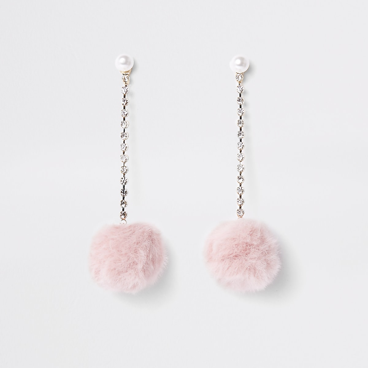 c591dca42 Pink pearl pom pom drop stud earrings - Earrings - Jewellery - women