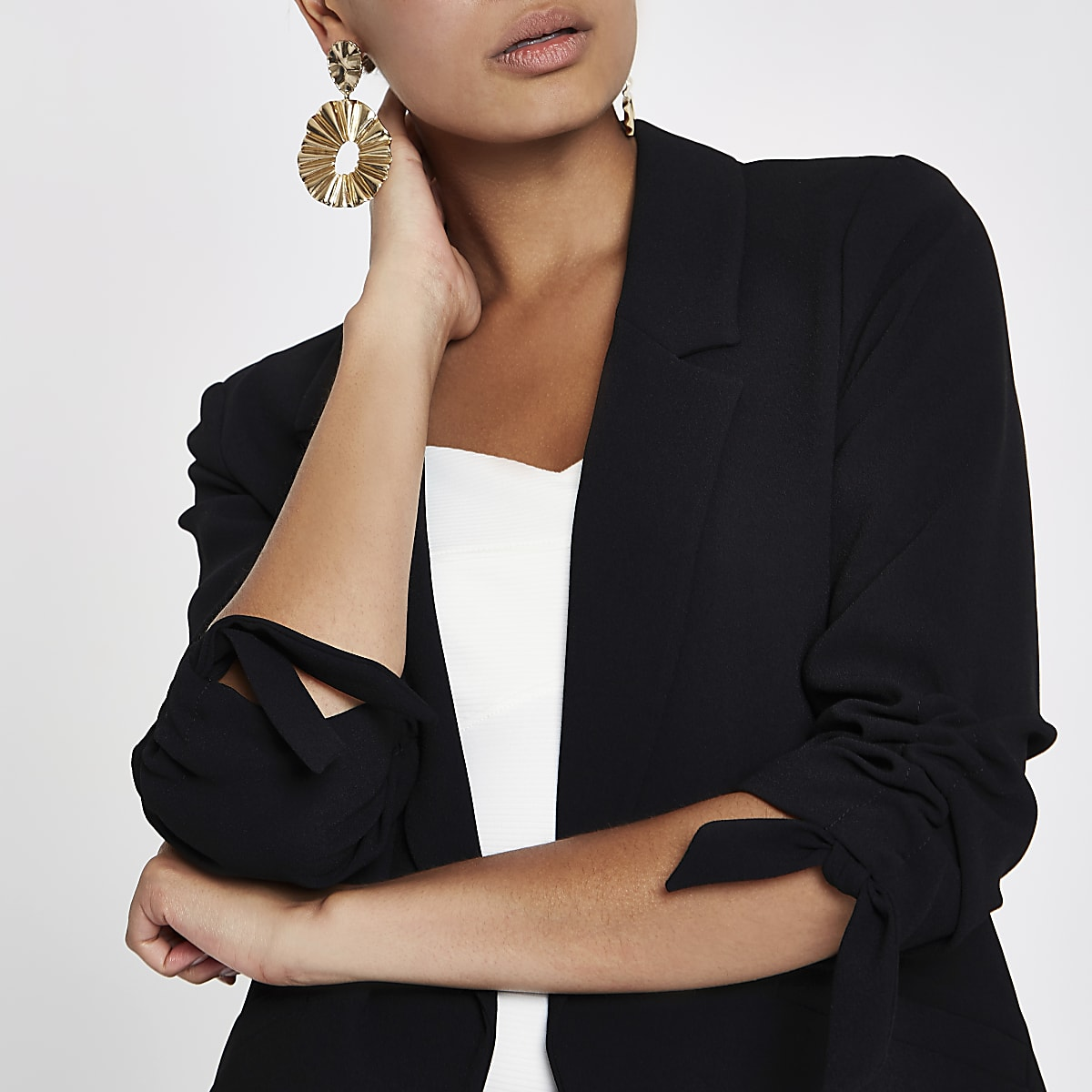 d9f761bd8e160 Black ruched sleeve blazer - Blazers - Coats   Jackets - women