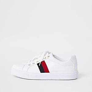 White stripe side lace up plimsolls