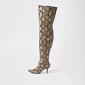 6186723ff91c Beige snake print slouch over the knee boots