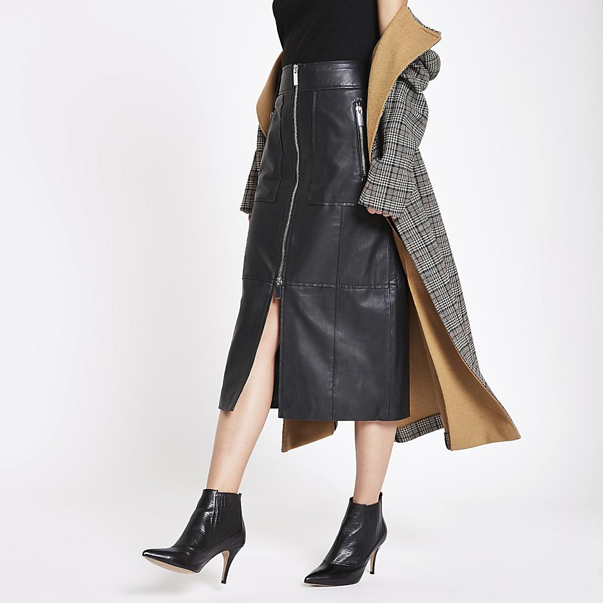 RI Studio black leather zip front midi skirt