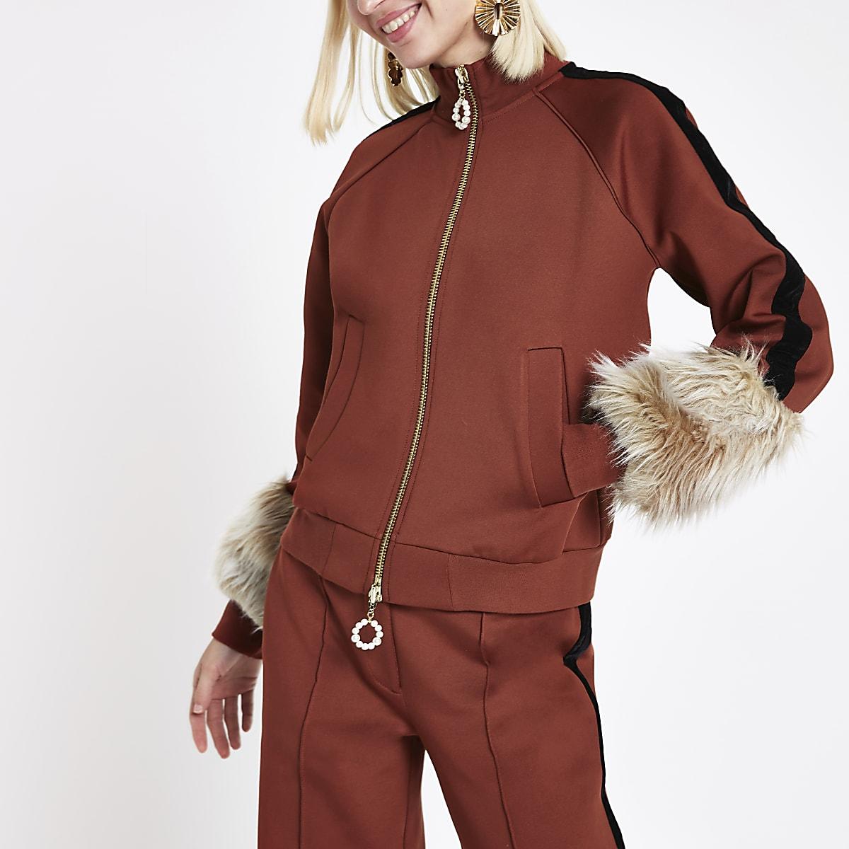 RI Studio rust faux fur cuff tracksuit jacket
