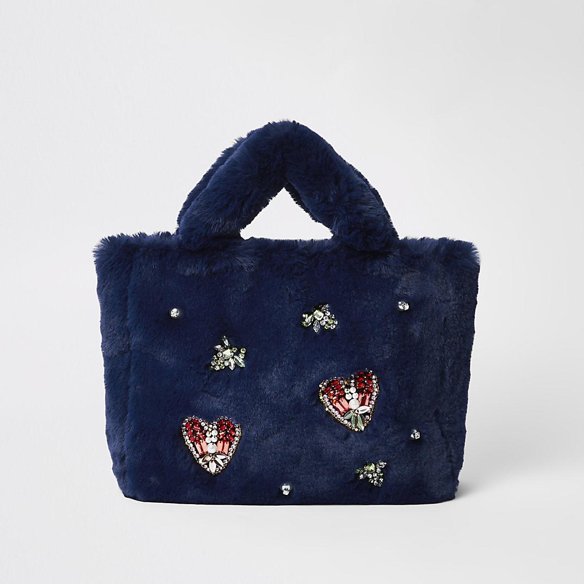 Navy faux fur jewel embellished shopper bag