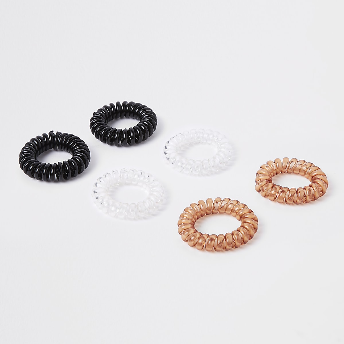 Black spiral hair tie pack