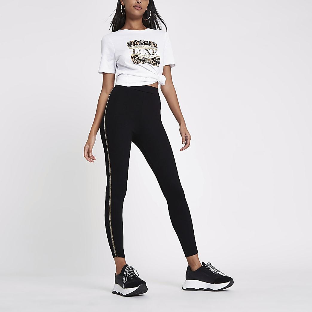 Black sequin stripe side leggings