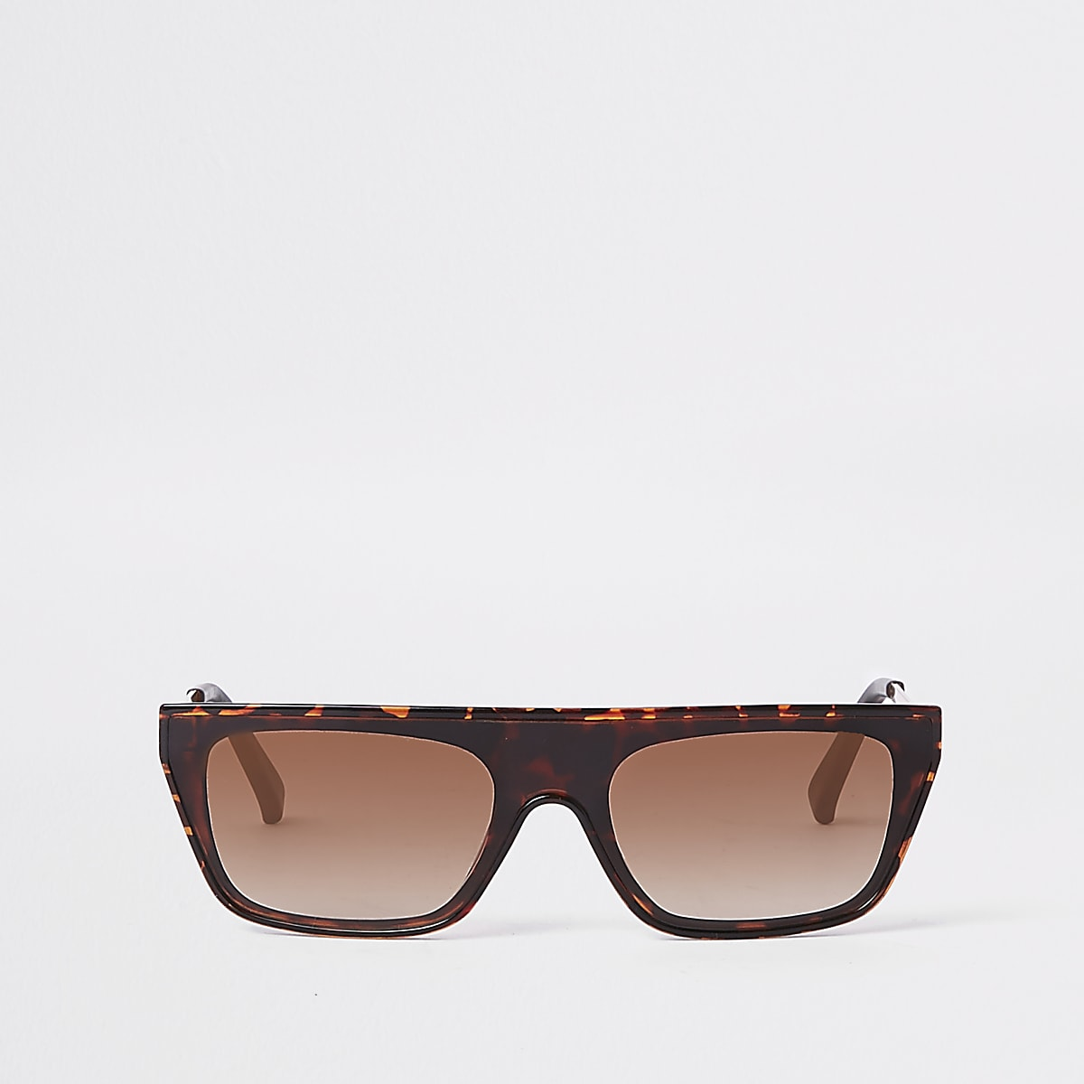 Brown print flat top sunglasses