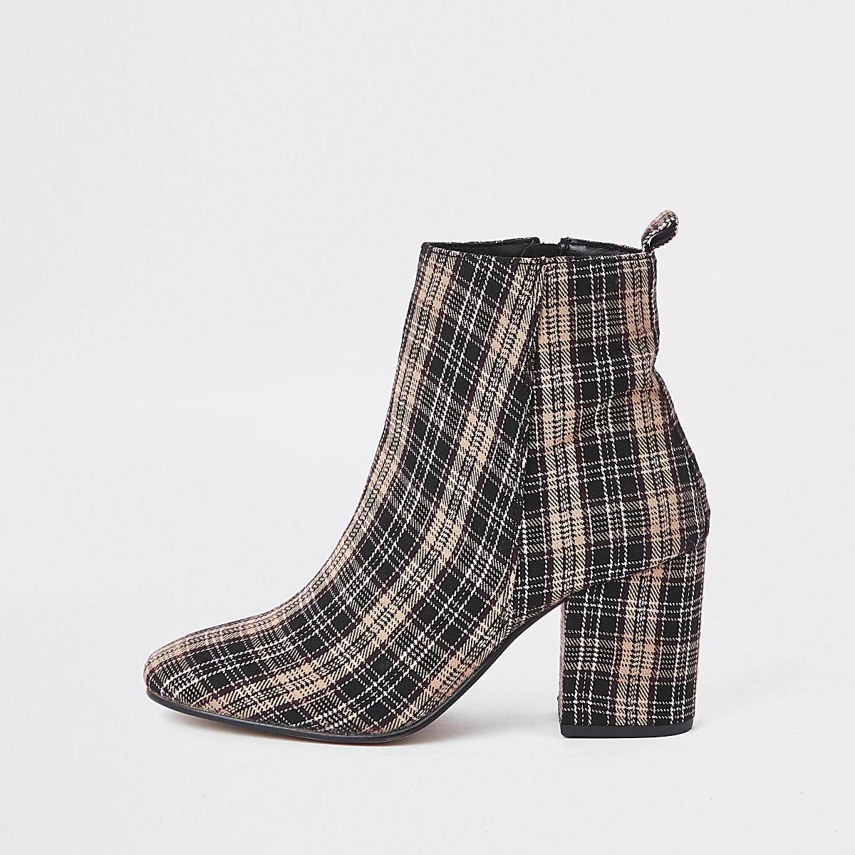 Beige check print square toe block heel boots