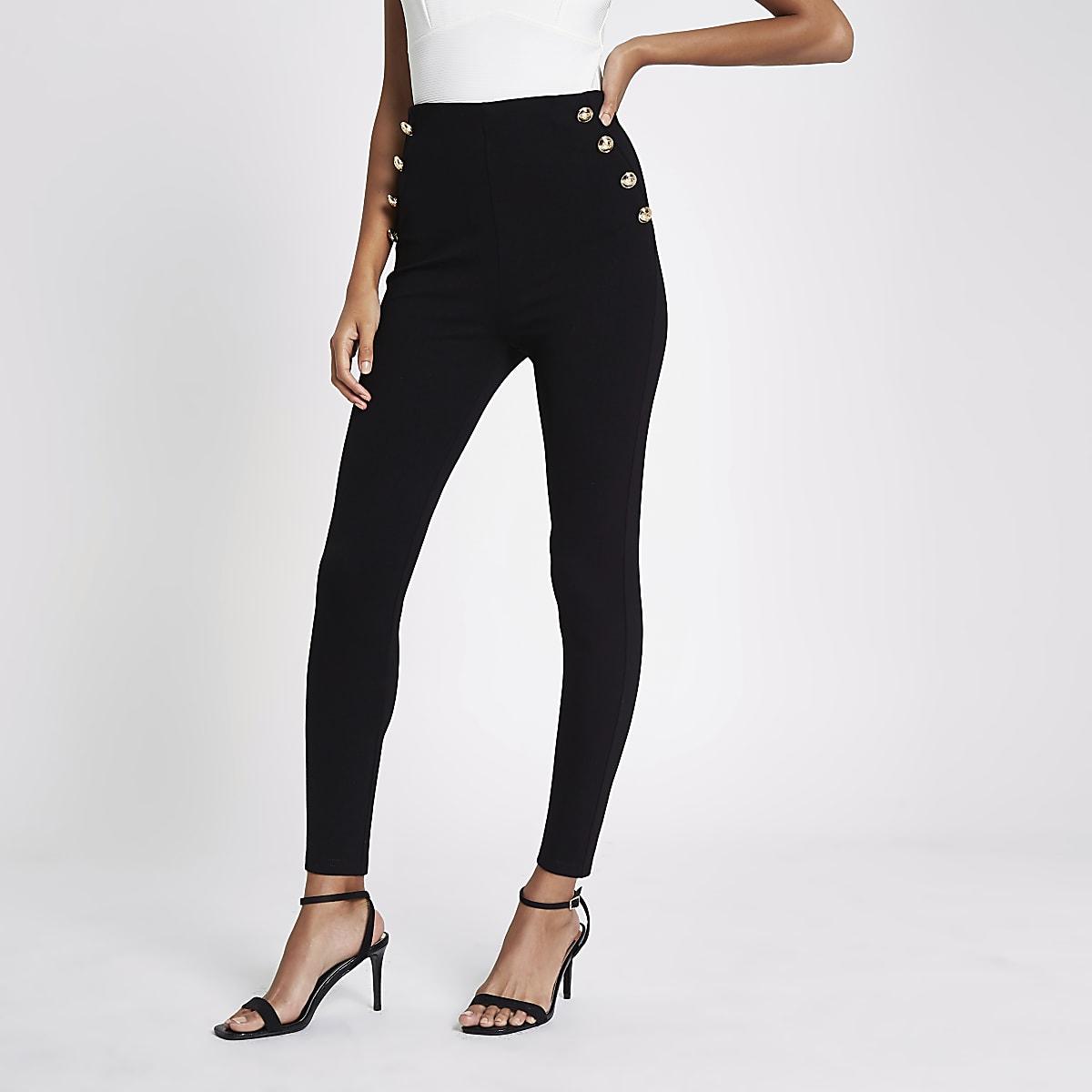 Black button front leggings