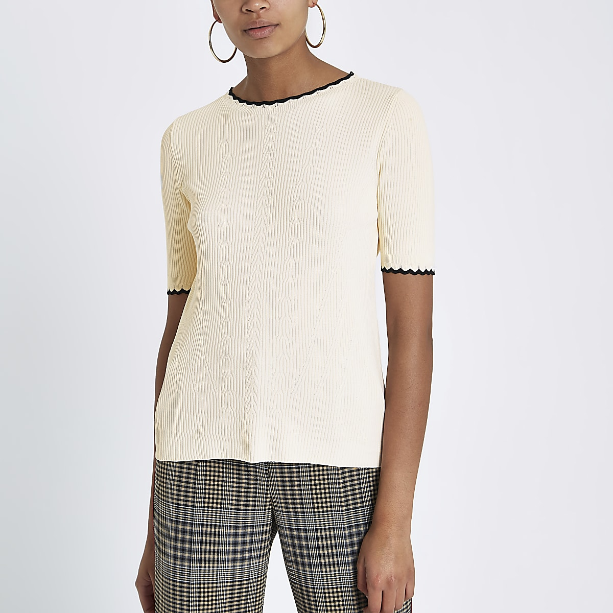 Cream ribbed frill edge tipped T-shirt
