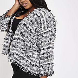 Plus black boucle knit jacket