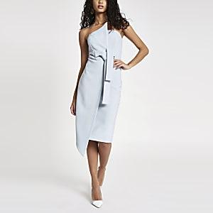 Light blue bandeau bodycon midi dress