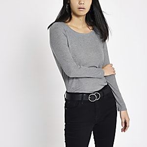 Grey basic scoop neck long sleeve top