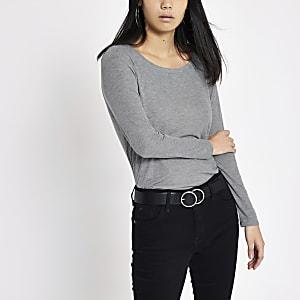 Grey basic scoop neck long sleeve top
