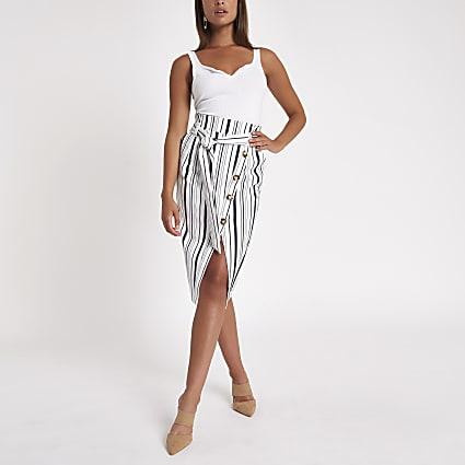 Blue stripe button front pencil skirt