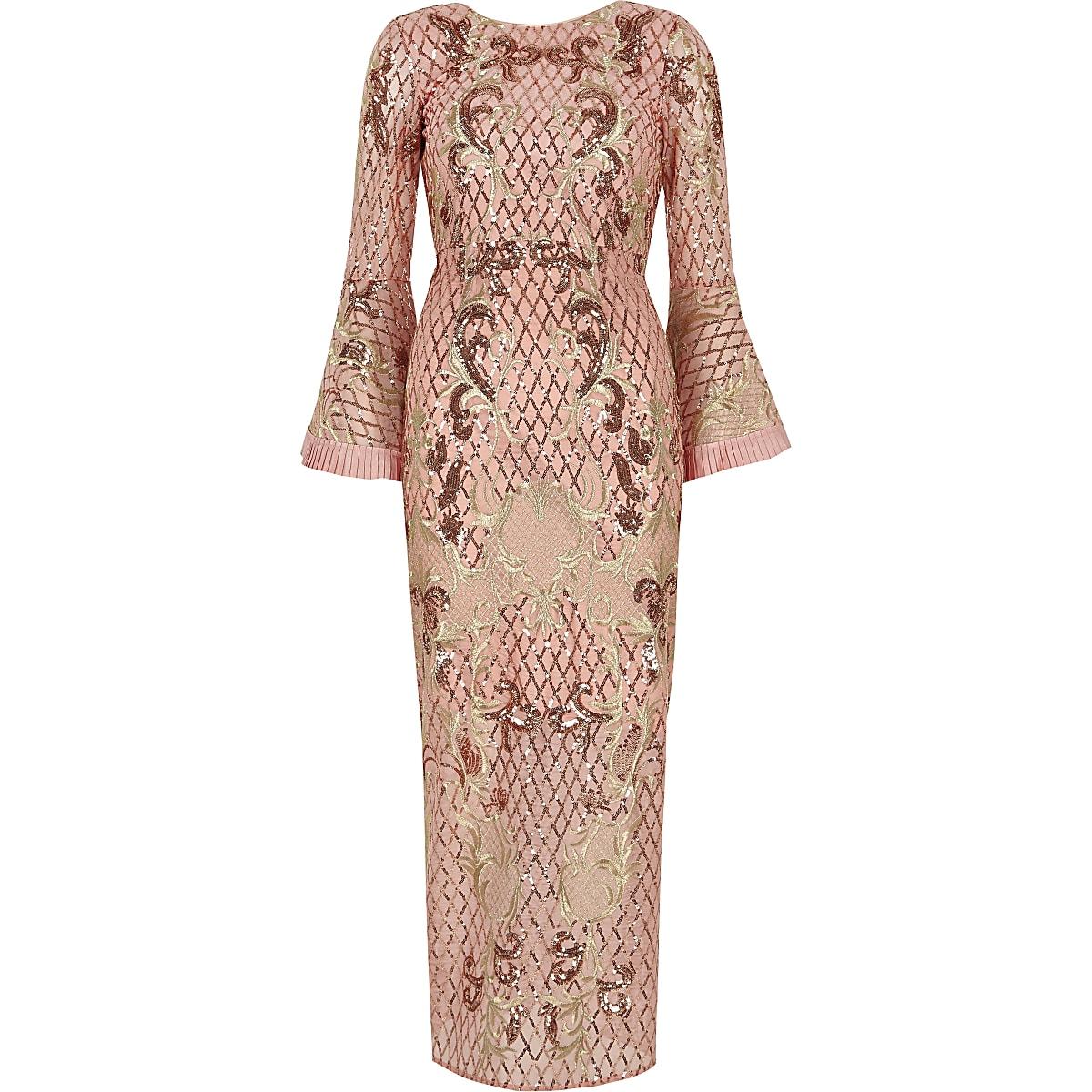 86e592c3bedb72 RI Petite - Roze verfraaide maxi-jurk met pailletten voor meisjes ...