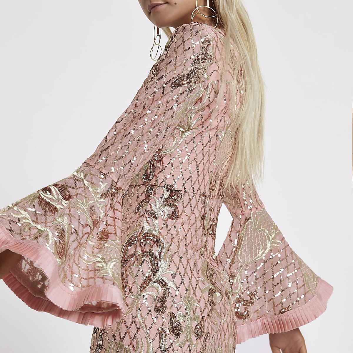 a670169f29b5d2 ... RI Petite - Roze verfraaide maxi-jurk met pailletten voor meisjes ...