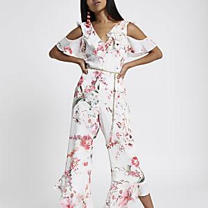 Pink frill cold shoulder floral jumpsuit