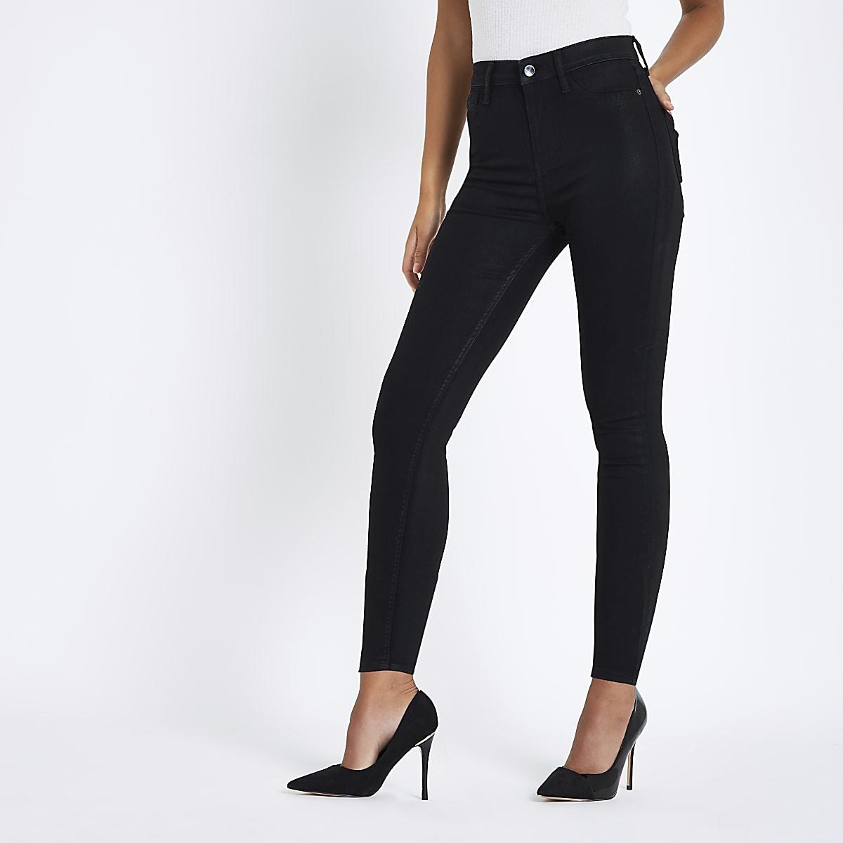 Black coated Harper ankle grazer skinny jeans