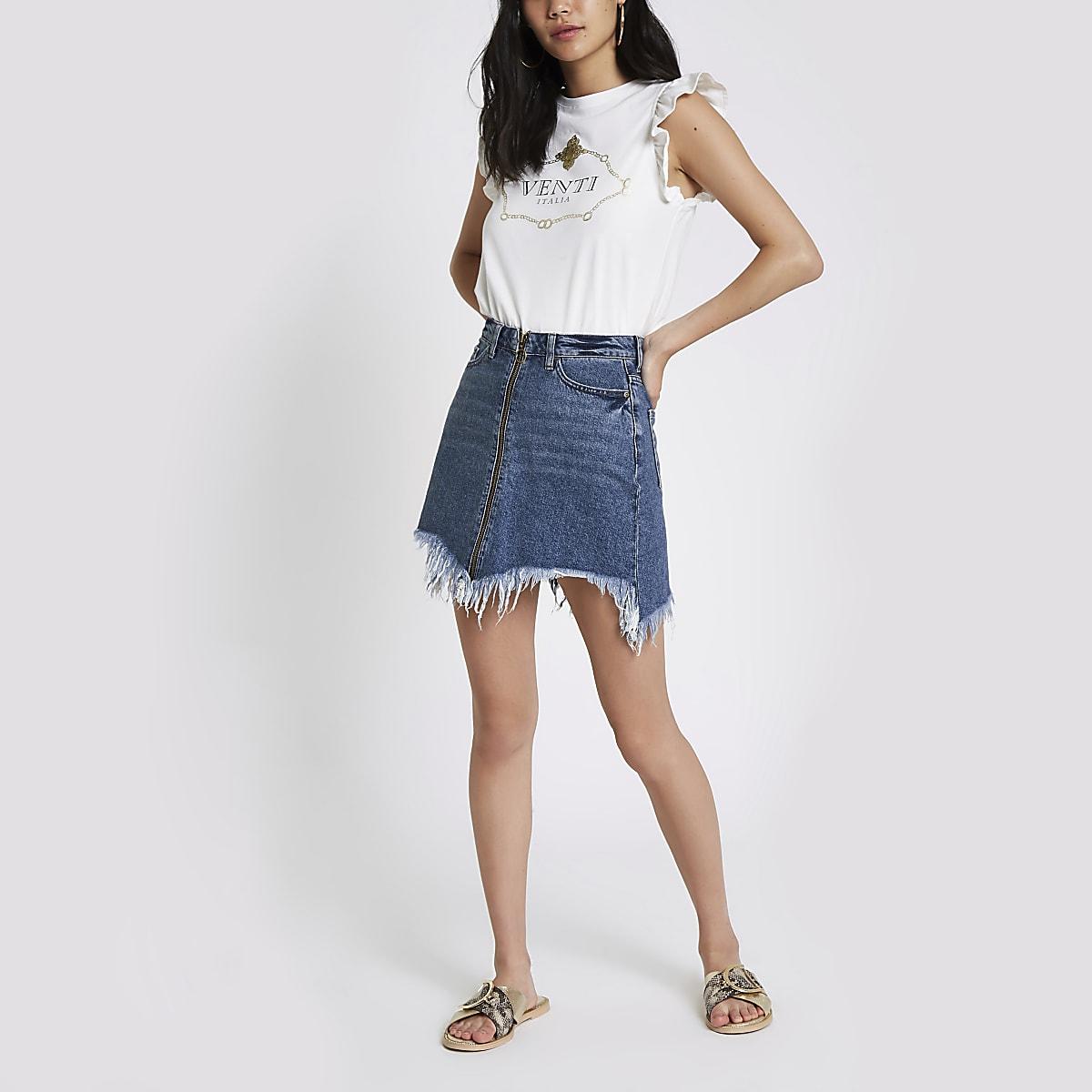 eaab47c18aec0e Blue zip front frayed hem denim mini skirt