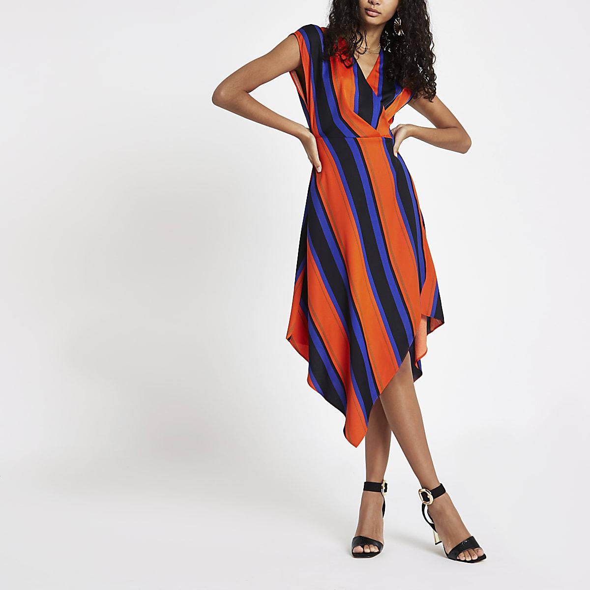 Orange stripe wrap front midi dress