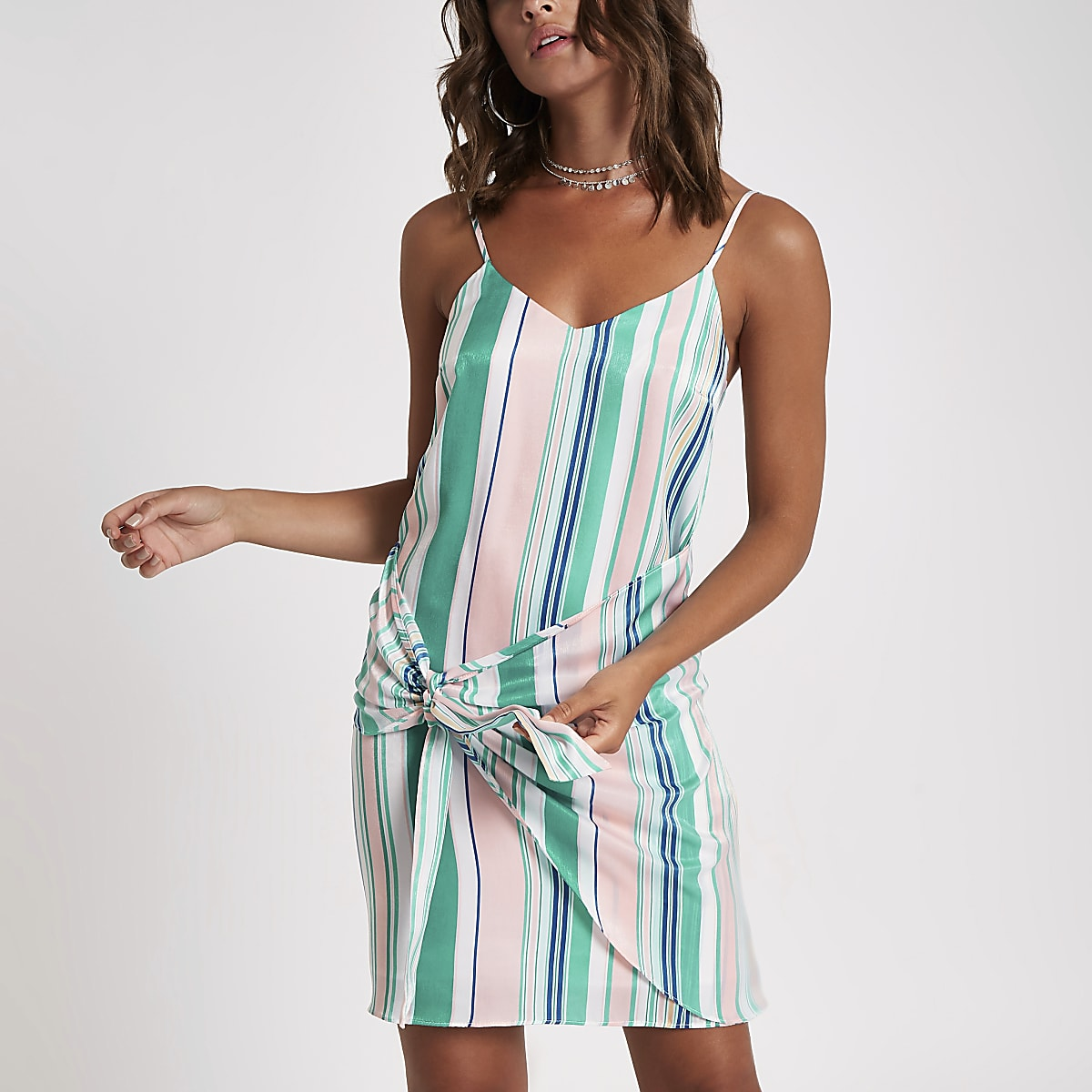 Pink stripe tie front cami slip dress