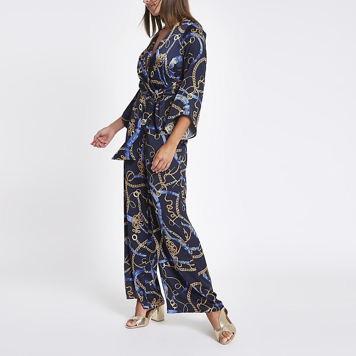 Navy chain print wrap tailored leg jumpsuit