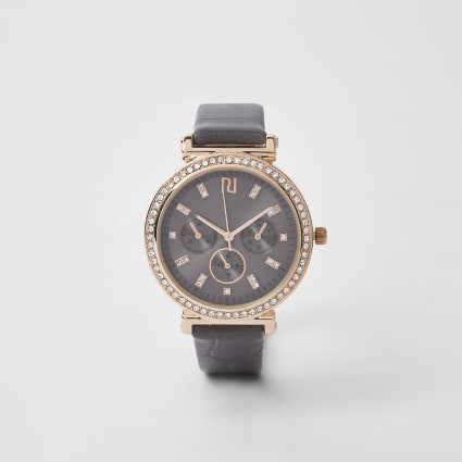 Dark grey gold diamante croc embossed watch