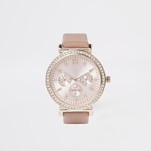 Montre or rose à strass et bracelet grain croco rose