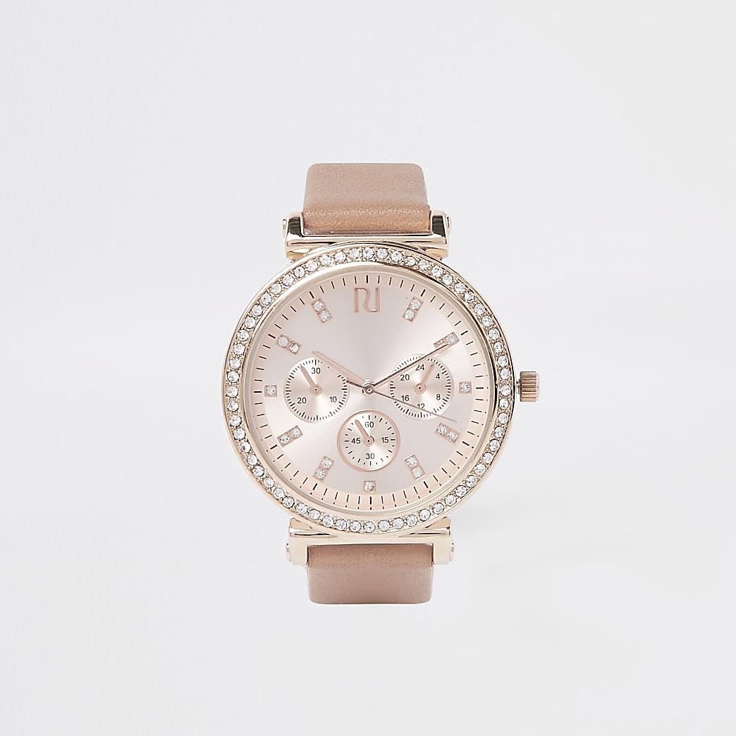 Pink rose gold diamante croc embossed watch