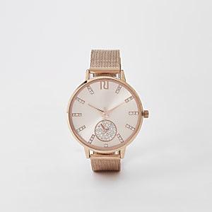 Rose gold rhinestone mesh strap round watch
