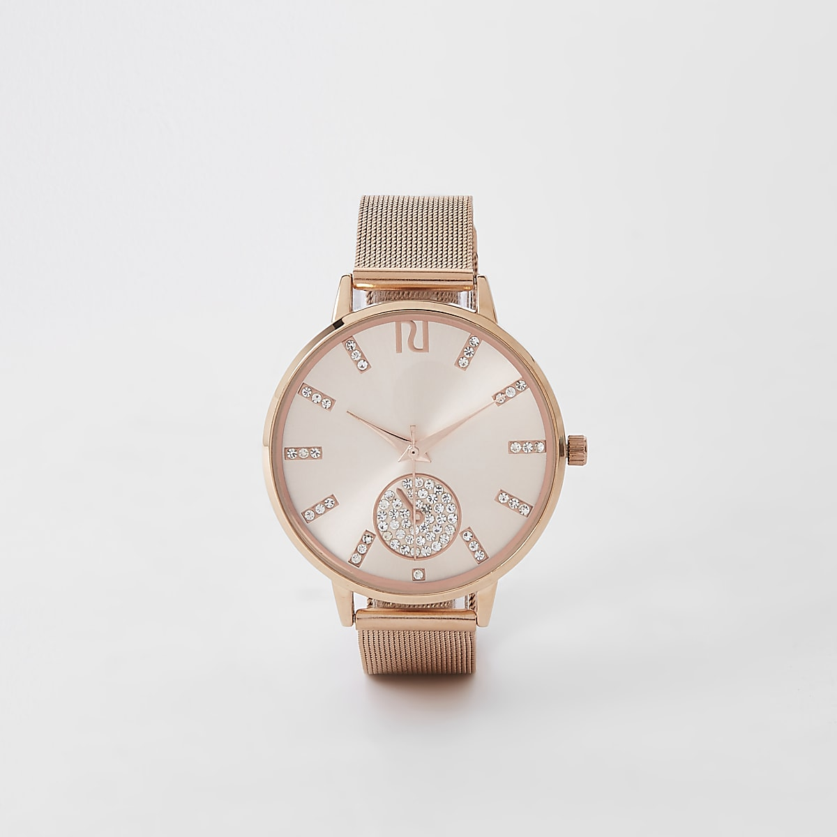 c21bd7115ba Rose gold diamante mesh strap round watch - Watches - women