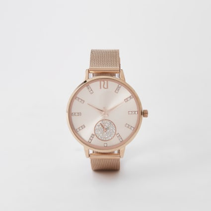Rose gold diamante mesh strap round watch