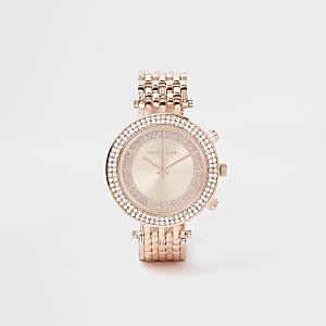 Rose gold color bling chain link watch