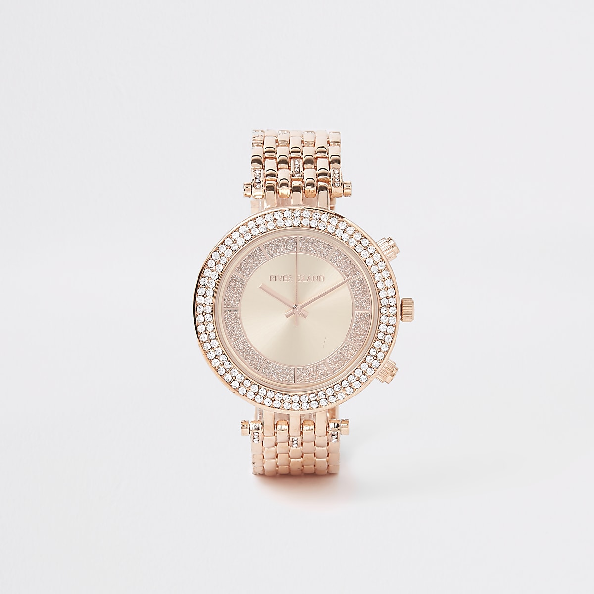 Rose gold colour bling chain link watch