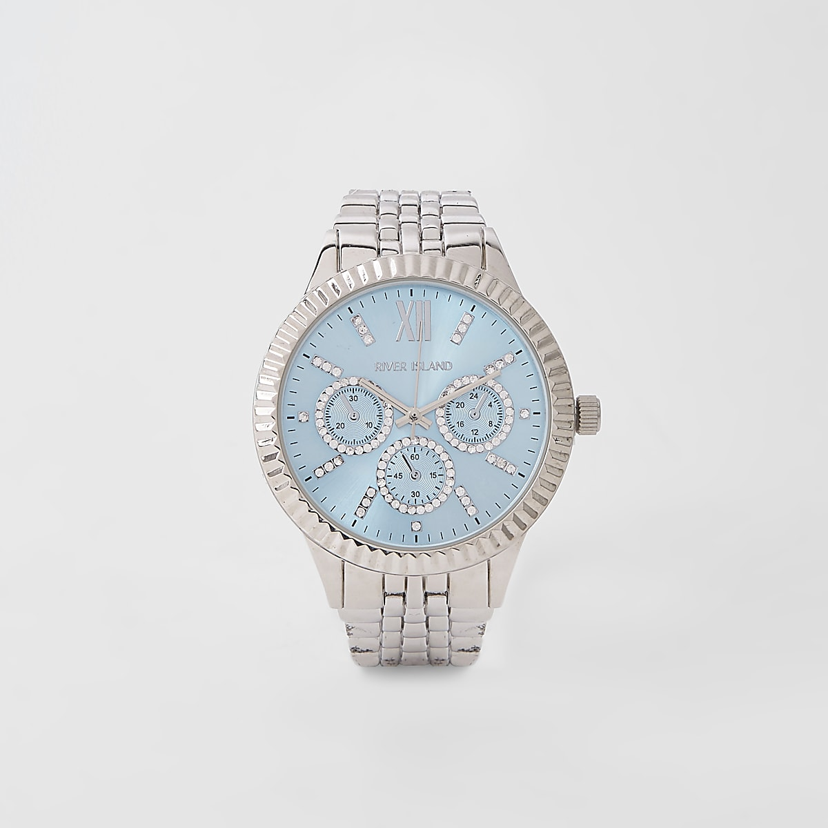 Silver blue round face chain link strap watch