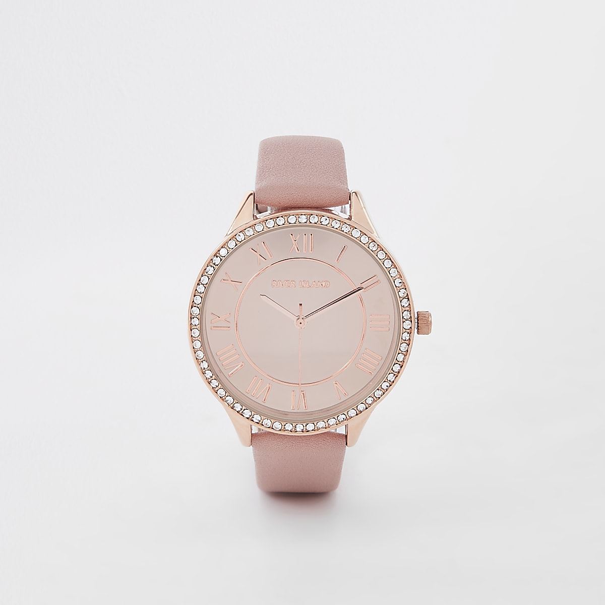 Pink rose gold colour diamante face watch