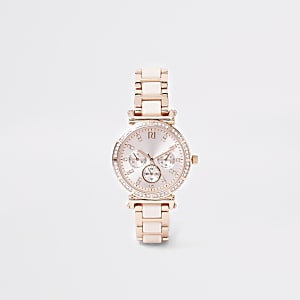Roze horloge met roségoudkleurig kettingbandje met diamantjes