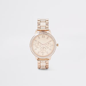 Montre à maillons or rose à strass