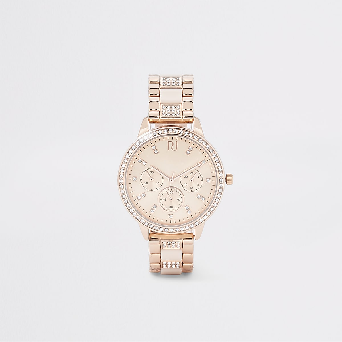 Rose gold rhinestone chain link strap watch