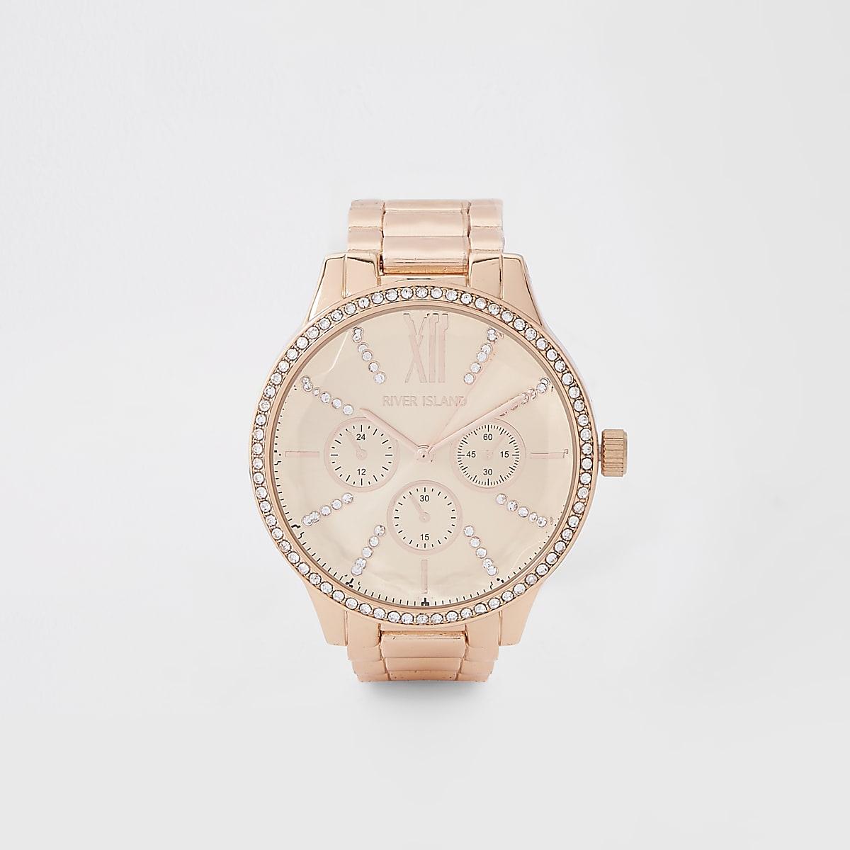 Roségoudkleurig horloge met schakelkettingband