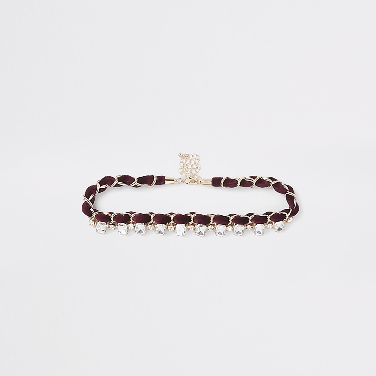 Dark red jewel embellished chain choker