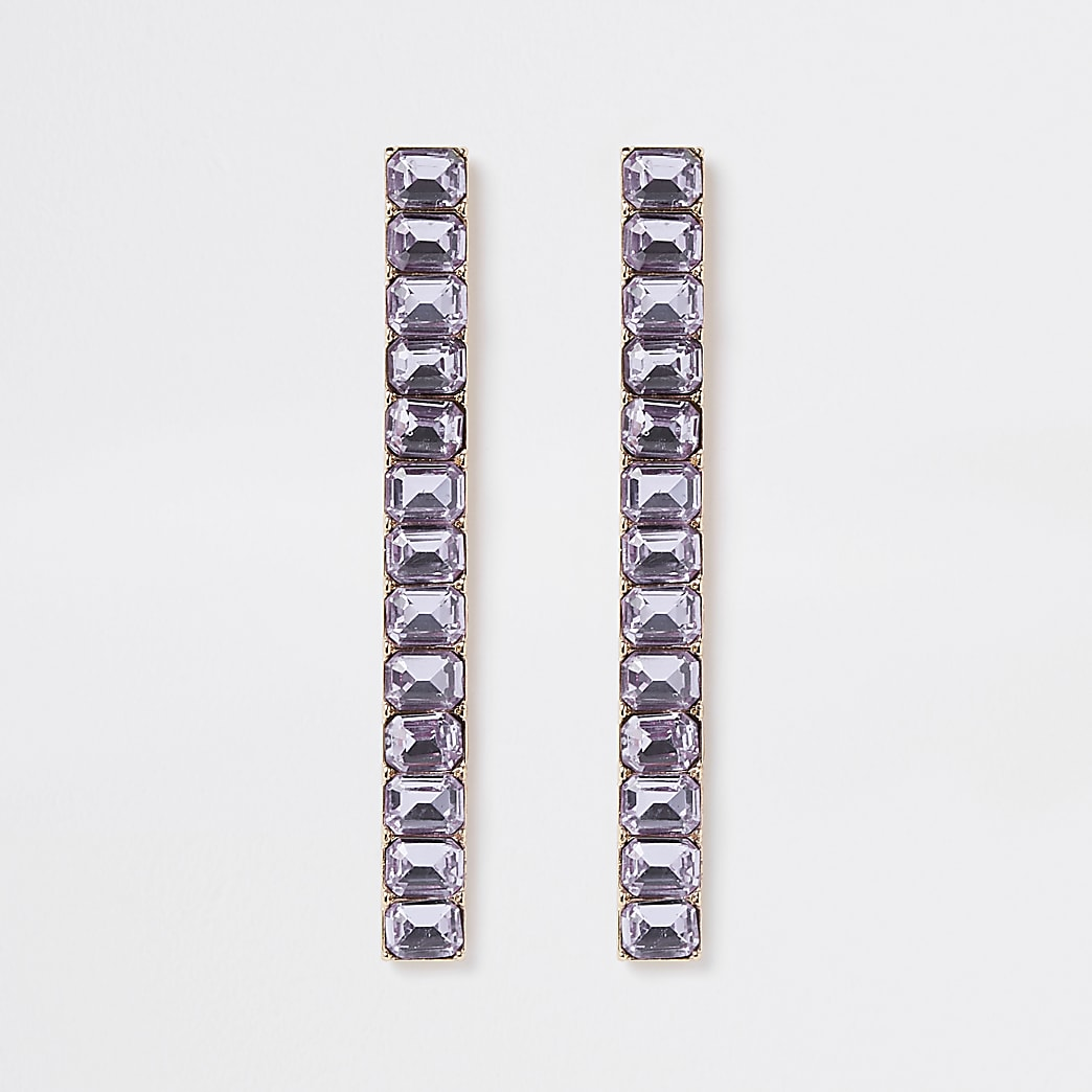 Blue tone diamante drop earrings