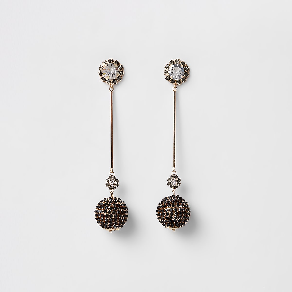 Gold colour cup chain ball drop earrings