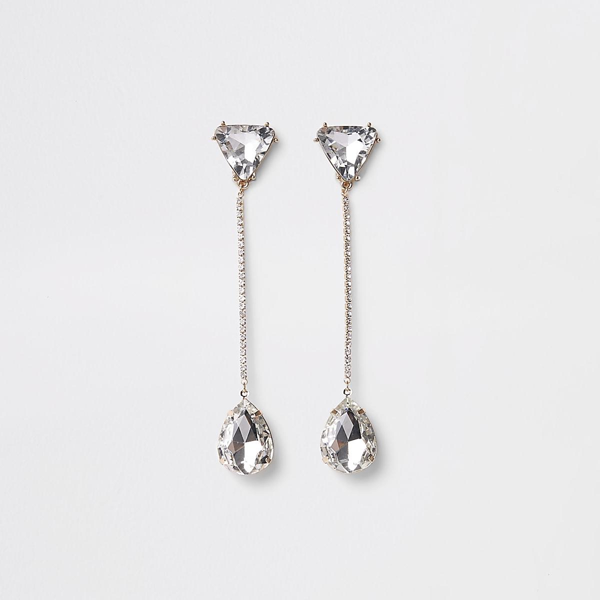 Gold tone jewel drop clip on earrings