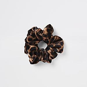 Braunes Haargummi mit Leopardenprint