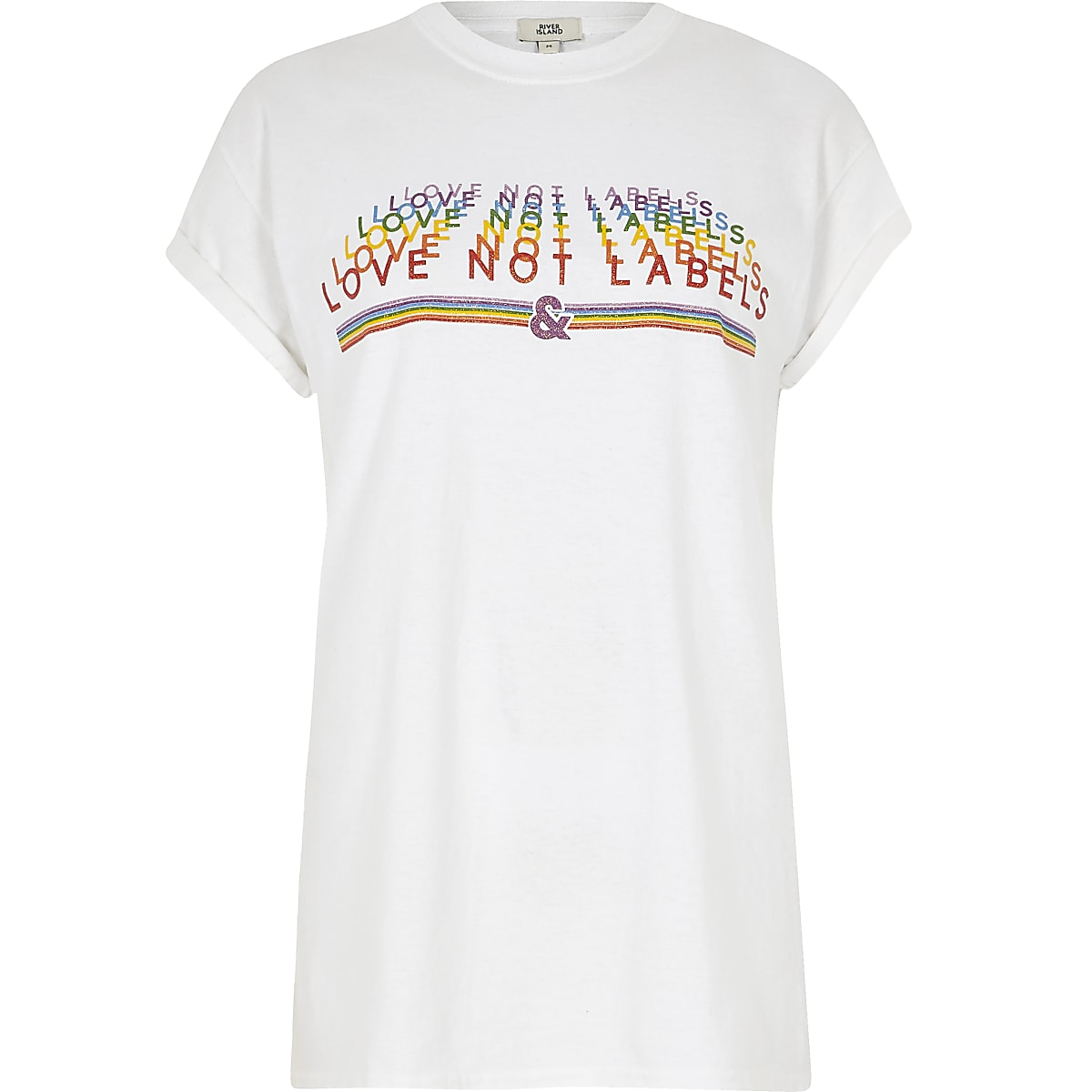 White 'love not labels' Pride T-shirt