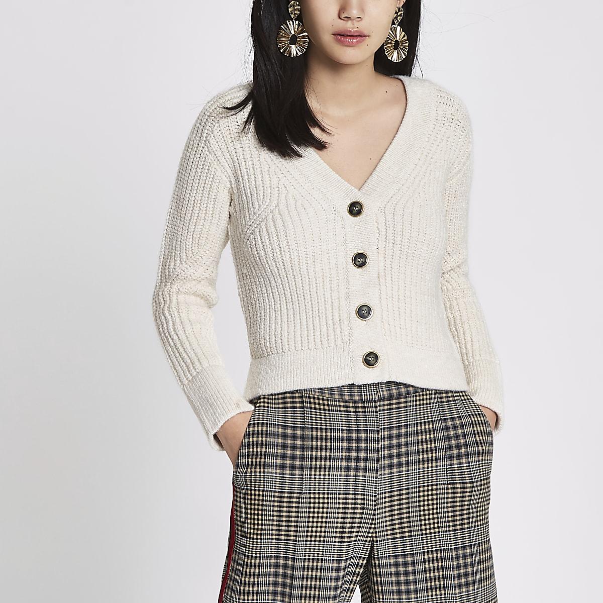 Beige knit long sleeve cropped cardigan