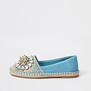 Light blue embellished espadrilles