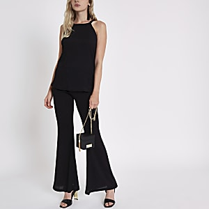 Black textured halter neck top