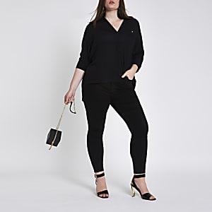 Plus black button front bar back blouse
